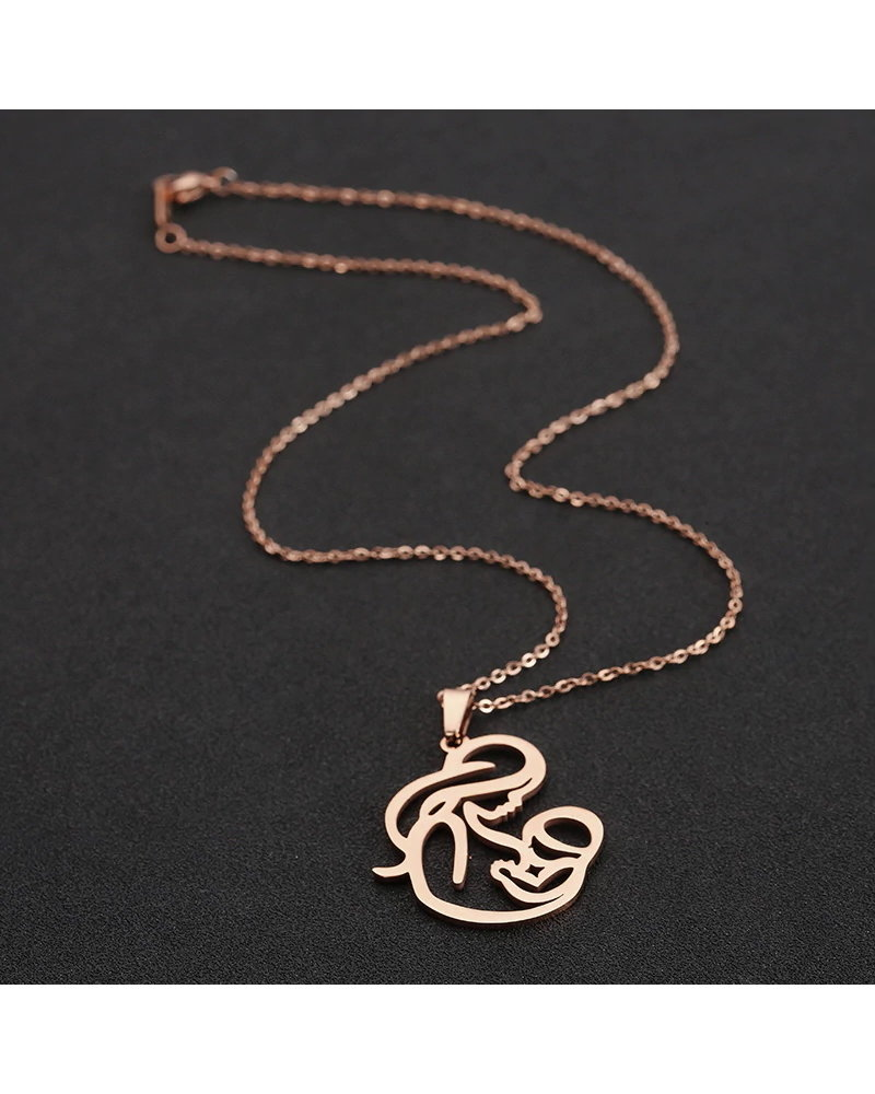 Fashion Favorite Fashion Favorite Moeder / Baby Ketting | Rosékleurig | 45 + 5 cm