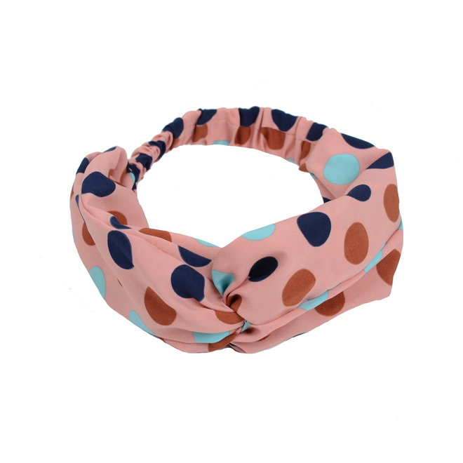 Haarband Print | Stip Roze - Blauw - Bruin - Lichtblauw | Elastische Bandana