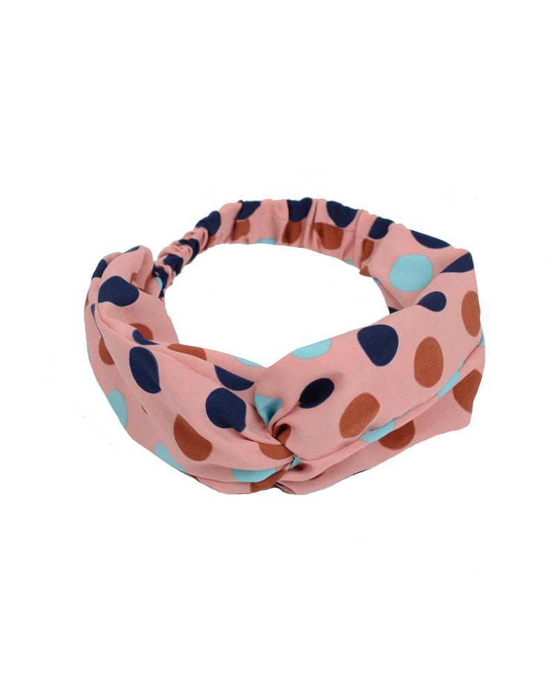 Fashion Favorite Haarband Print | Stip Roze - Blauw - Bruin - Lichtblauw | Elastische Bandana