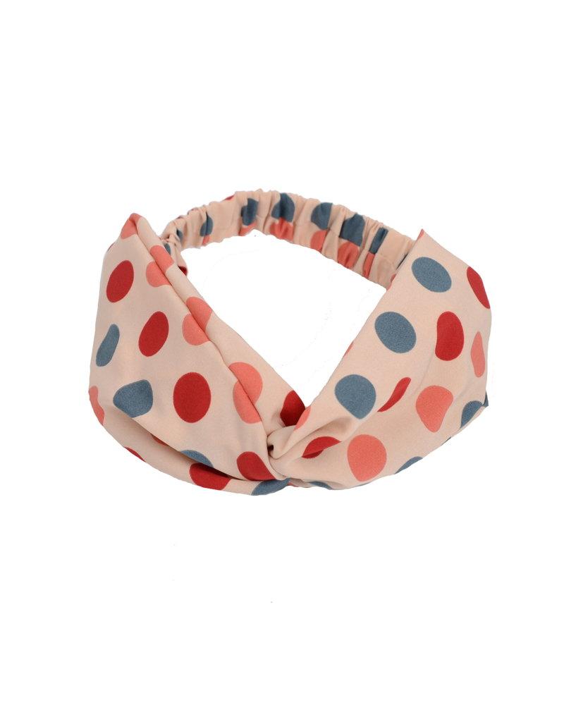 Fashion Favorite Haarband Print | Stip Beige - Rood - Oranje - Denimblauw