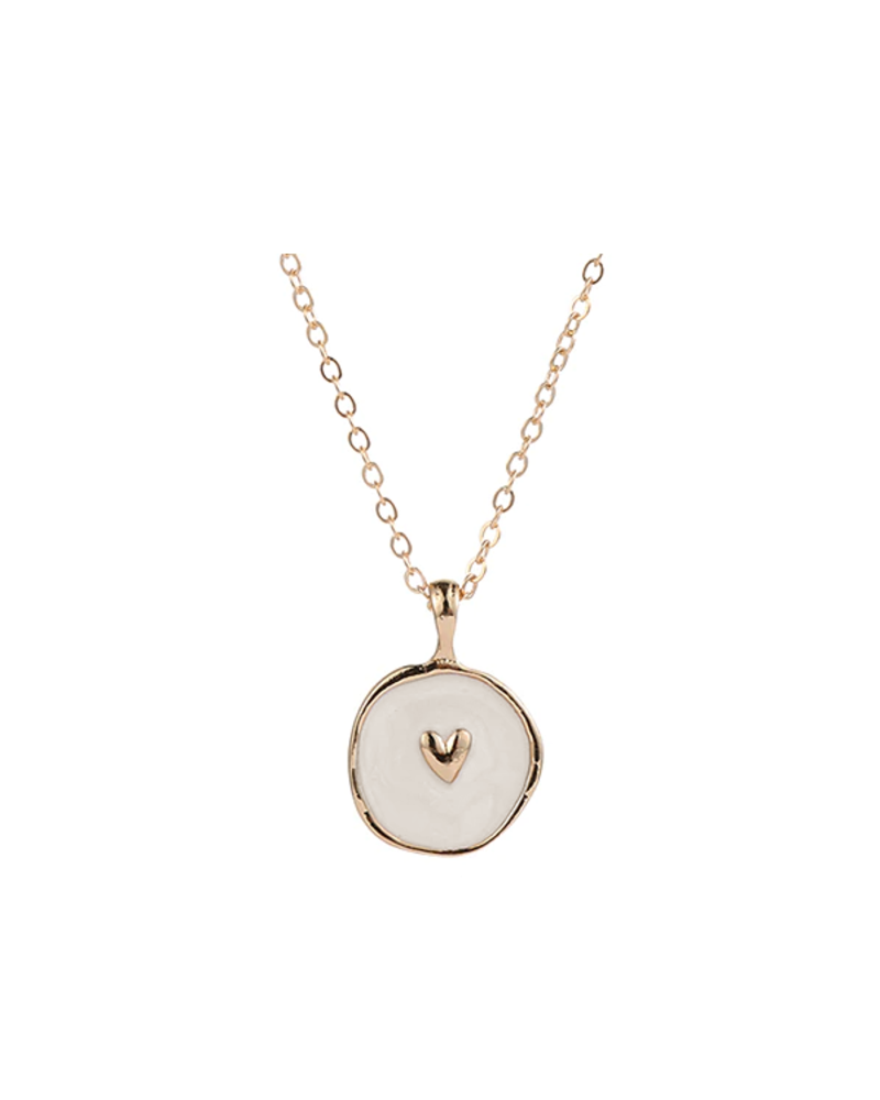 Fashion Favorite Spirit Hart Ketting | Goudkleurig / Crème | 41.5 + 5 cm