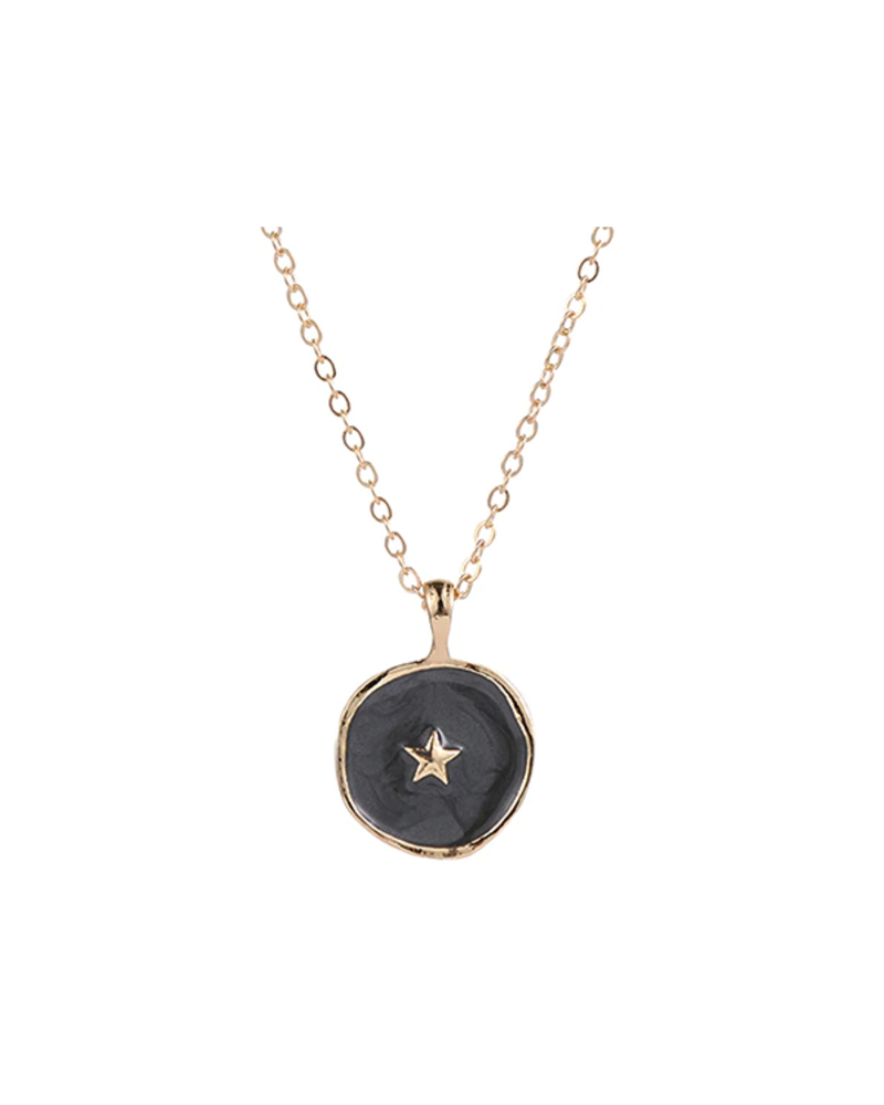 Fashion Favorite Spirit Ster Ketting | Goudkleurig / Antraciet | 41.5 + 5 cm