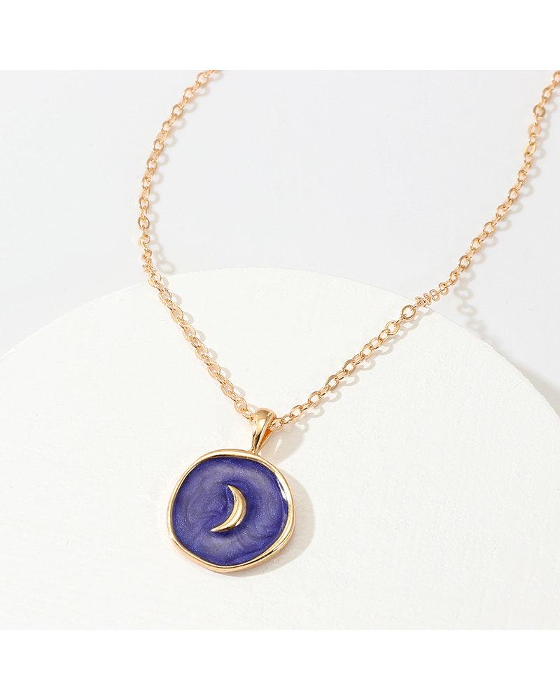 Fashion Favorite Spirit Maan Ketting   Goudkleurig / Blauw   41.5 + 5 cm