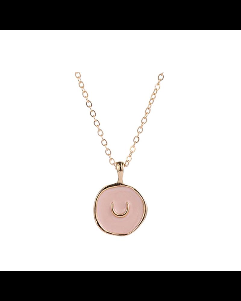 Fashion Favorite Spirit Halve Maan Ketting | Goudkleurig / Roze | 41.5 + 5 cm
