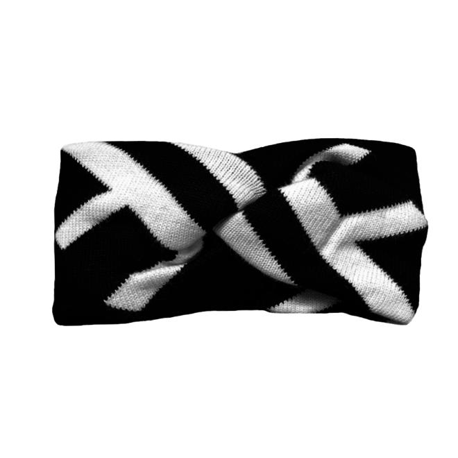 Hoofdband / Haarband Wit-Zwart | Katoen | Elastisch | Fashion Favorite