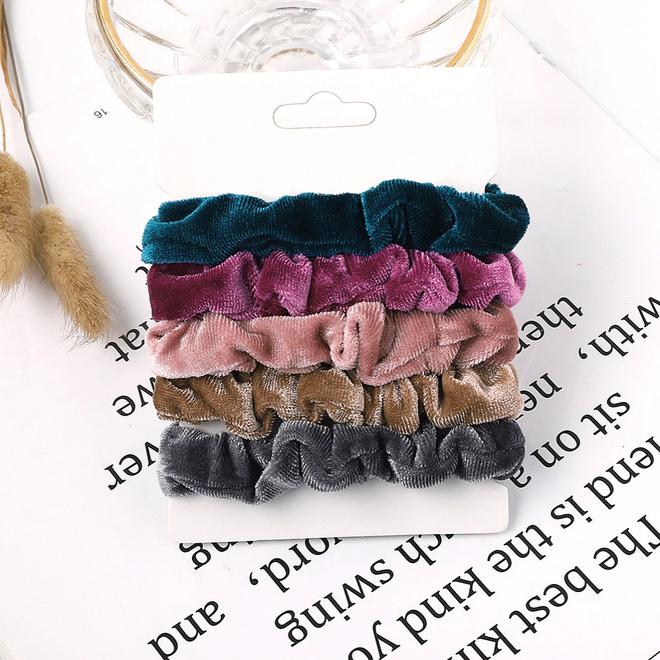 Haarelastiek Velvet | Mix 5 stuks | Scrunchie / Haarwokkel | Fashion Favorite