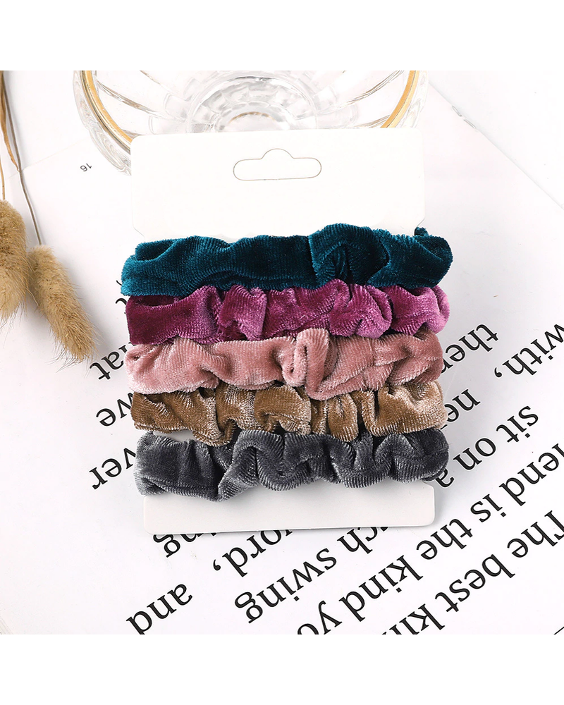 Fashion Favorite Haarelastiek Velvet | Mix 5 stuks | Scrunchie / Haarwokkel | Fashion Favorite