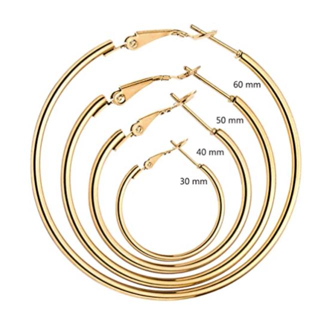 Oorringen 40 mm | Zilverkleurig | Clipsluiting | Ronde Buis | Fashion Favorite