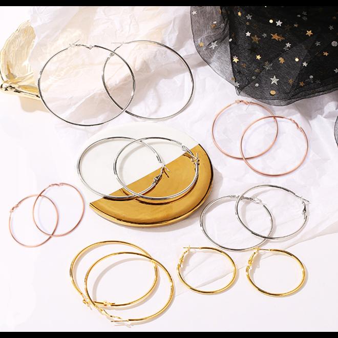 Oorringen 60 mm | Goudkleurig | Clipsluiting | Ronde Buis | Fashion Favorite