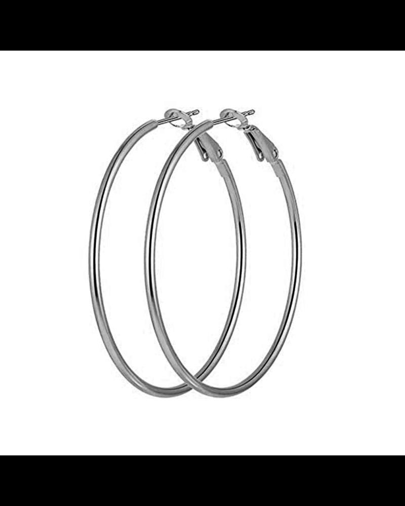 Fashion Favorite Oorringen 60mm   Zilverkleurig   Clipsluiting   Ronde Buis  Fashion Favorite