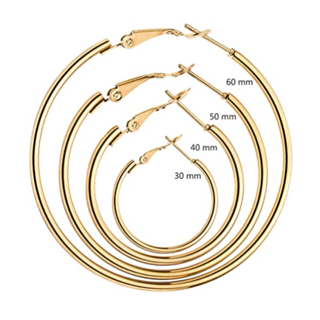 Oorringen 60mm | Rosekleurig | Clipsluiting |Ronde Buis | Fashion Favorite