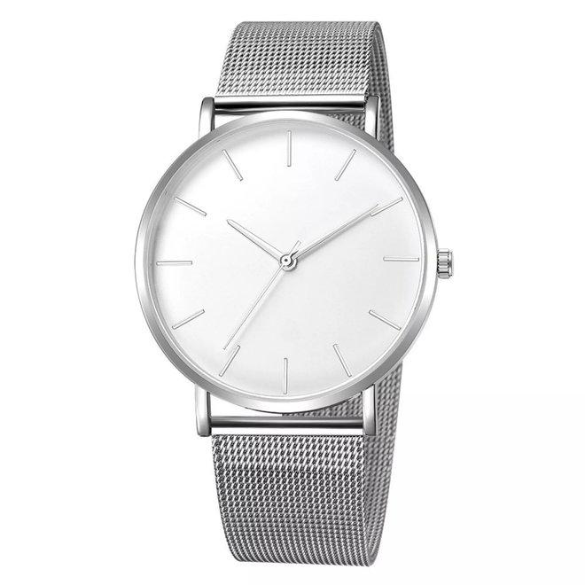 Maxx Mesh Zilver / Wit Horloge