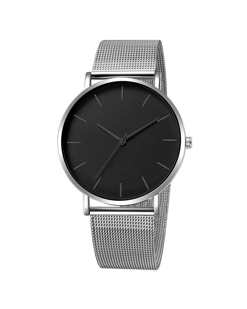 Fashion Favorite Maxx Mesh Zilver / Zwart Horloge | Staal | Ø 40 mm