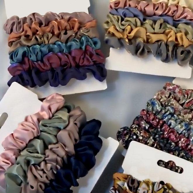 Haarelastiek Satijn #2   Mix 6 stuks   Scrunchie / Haarwokkel   Fashion Favorite