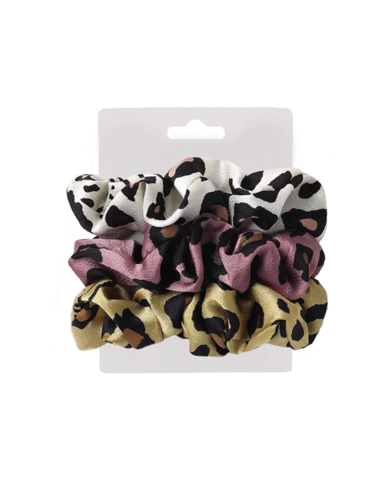 Fashion Favorite Haarelastiek Leopard / Panter | Mix 3 stuks | Scrunchie / Haarwokkel | Fashion Favorite