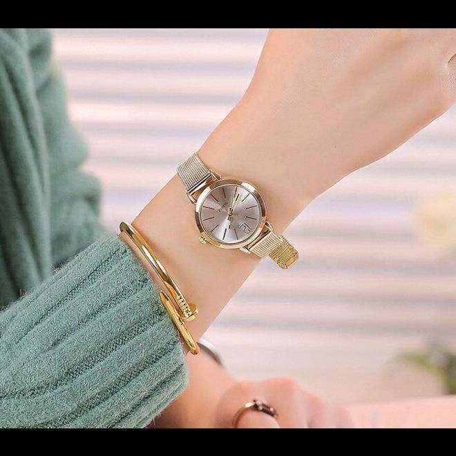 Blanche Gold / White Horloge | Goudkleurig | Ø 30 mm