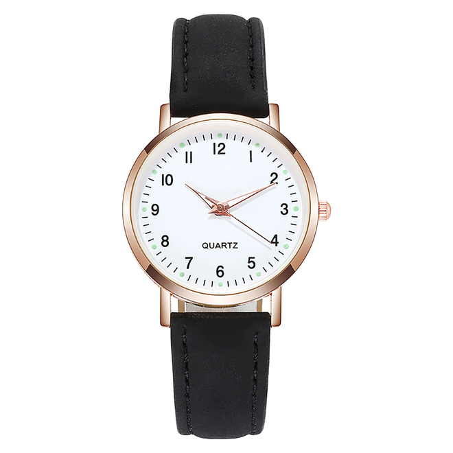 Doukou Black Horloge | Suedine - Kunstleer | Zwart | Ø 32,5 mm