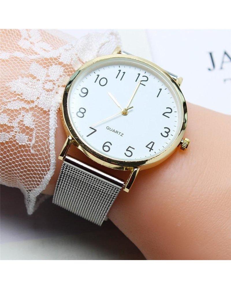 Fashion Favorite Nero Horloge Zilver / Goud Horloge | Staal | Ø 40 mm