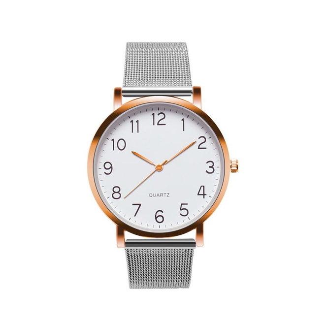 Nero Horloge Zilver / Rose Horloge   Staal   Ø 40 mm