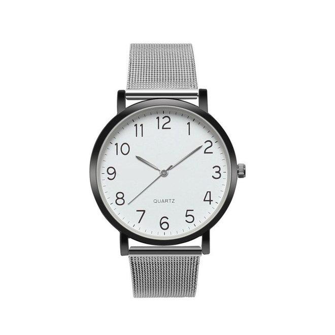 Nero Horloge Zilver / Zwart Horloge   Staal   Ø 40 mm