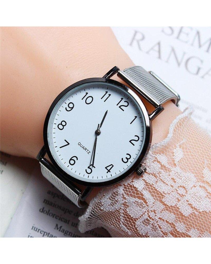 Fashion Favorite Nero Horloge Zilver / Zwart Horloge   Staal   Ø 40 mm