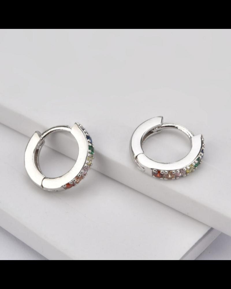 Fashion Favorite Zirkonia Oorringen Zilverkleurig / Multicolor - 8 mm x 3mm | Scharniersluiting