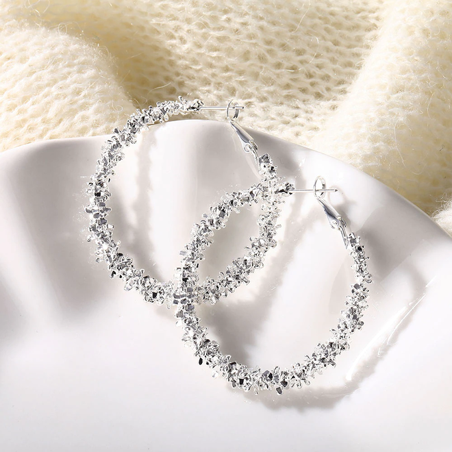 Rush Silver Oorringen 45 mm | Zilverkleurig | Clipsluiting | Fashion Favorite
