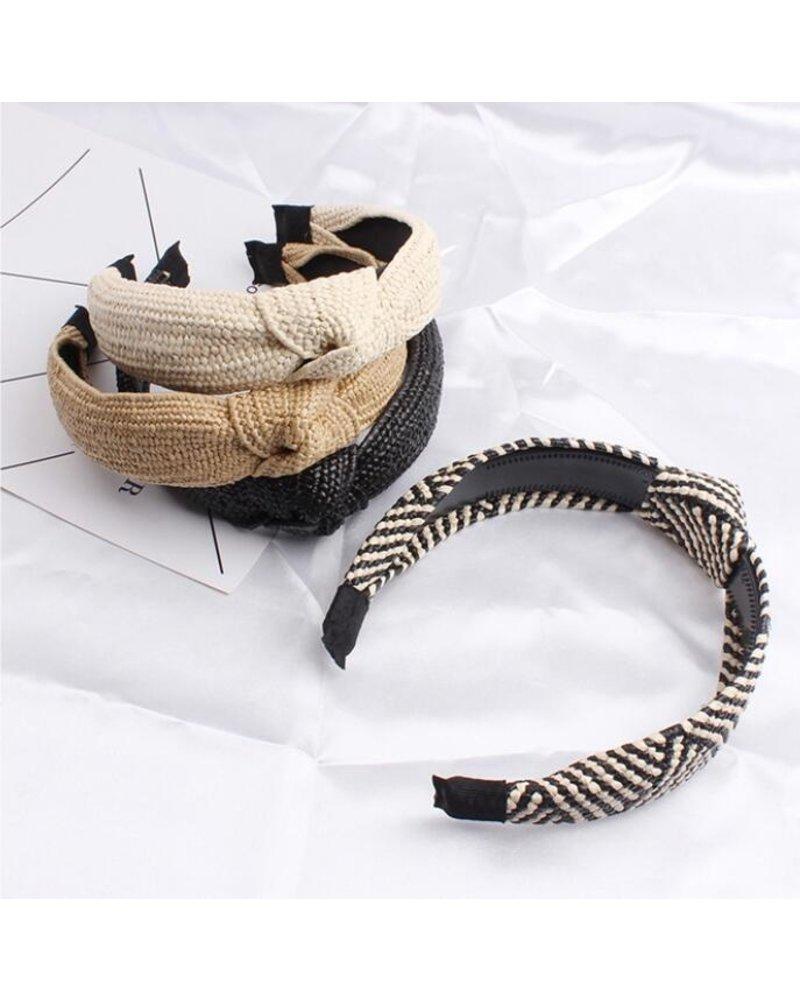 Fashion Favorite Ibiza Beach Haarband / Diadeem   Boho Knot Zwart   Rotan Look