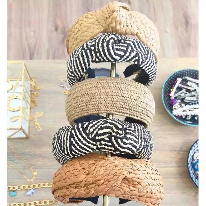 Ibiza Beach Haarband / Diadeem | Boho Knot Zwart | Rotan Look
