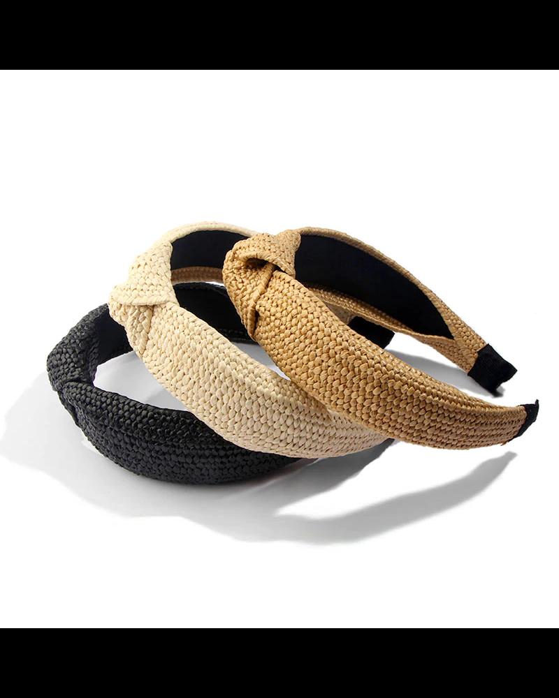 Fashion Favorite Ibiza Beach Haarband / Diadeem | Boho Knot Ecru | Rotan Look