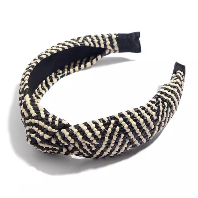 Ibiza Beach Haarband / Boho Knot Zwart / Ecru