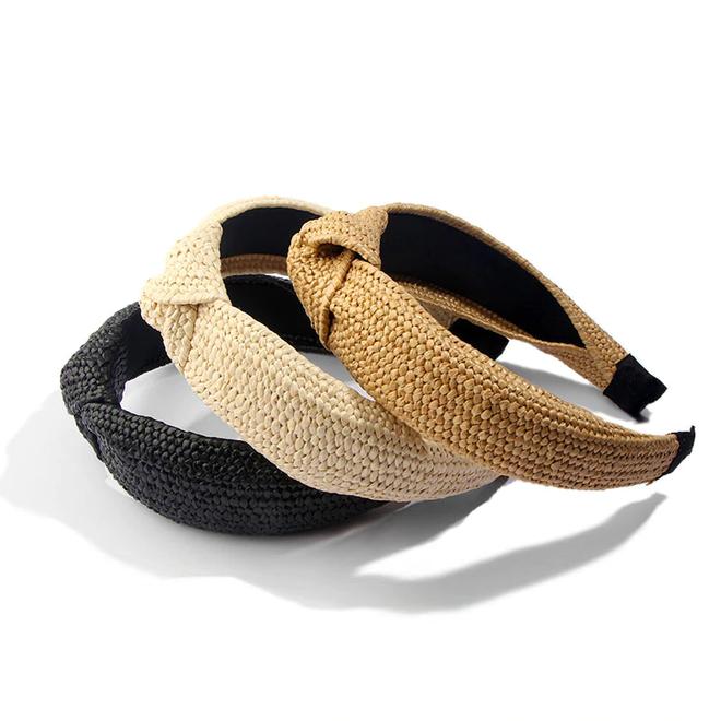 Ibiza Beach Haarband / Diadeem   Boho Knot Zwart / Ecru   Rotan Look