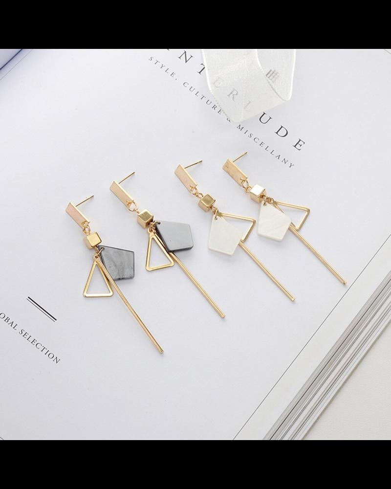 Fashion Favorite  Noya Oorbellen Grijs / Goud | Marble / Bijoux | Fashion Favorite