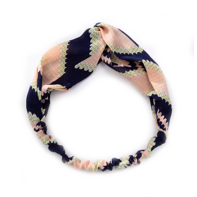 Haarband Pretty Zalm/Blauw    Katoen   Elastische Bandana