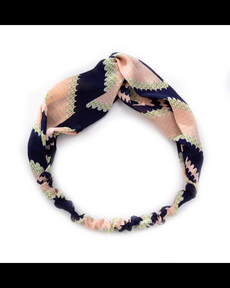 Fashion Favorite Haarband Pretty Zalm/Blauw  | Katoen | Elastische Bandana