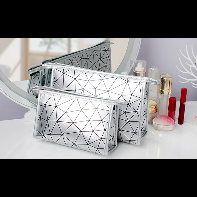 Toilettas Geometric Zilver - Groot