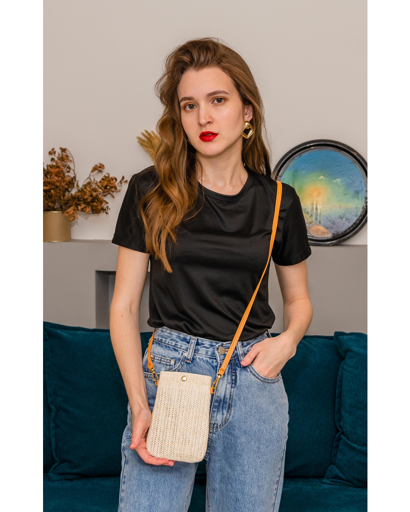 Fashion Favorite Smartphone Tasje - Stro  / Riet Crème