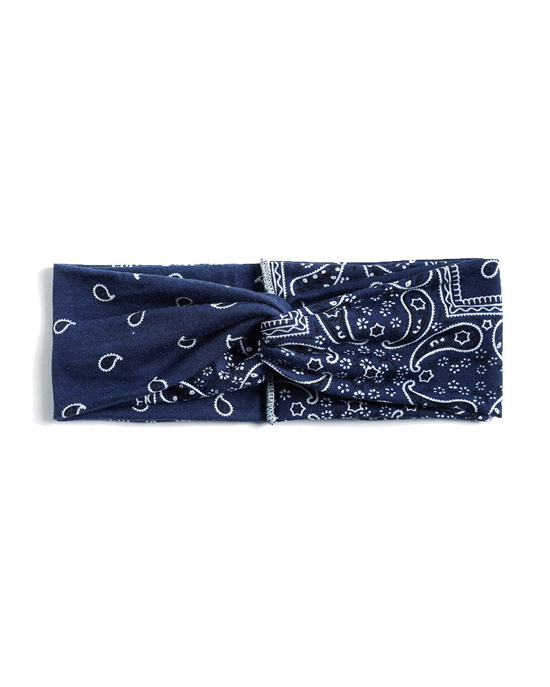 Fashion Favorite Haarband / Bandana Paisley   Donkerblauw   Elastisch / Katoen
