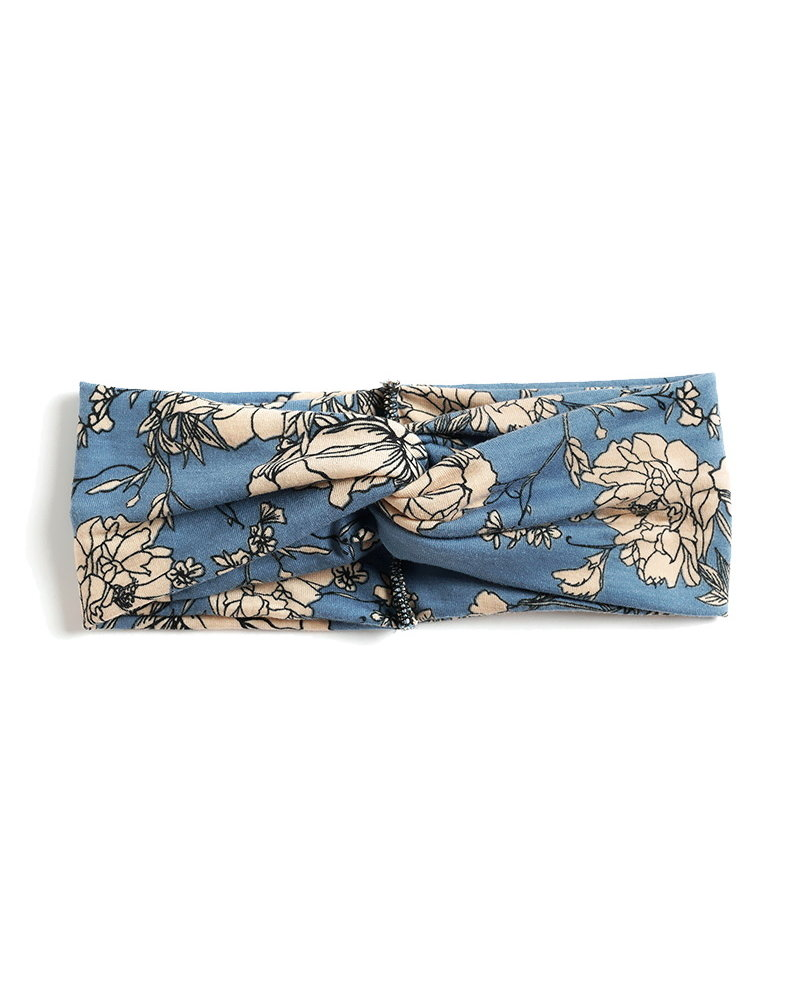 Fashion Favorite Haarband / Bandana Flower | Blauw/Beige | Elastisch / Katoen
