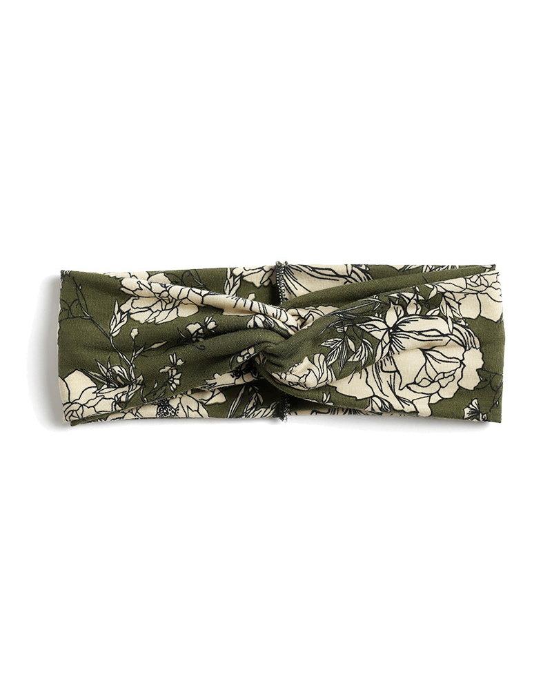 Fashion Favorite Haarband / Bandana Flower | Groen/Beige | Elastisch / Katoen
