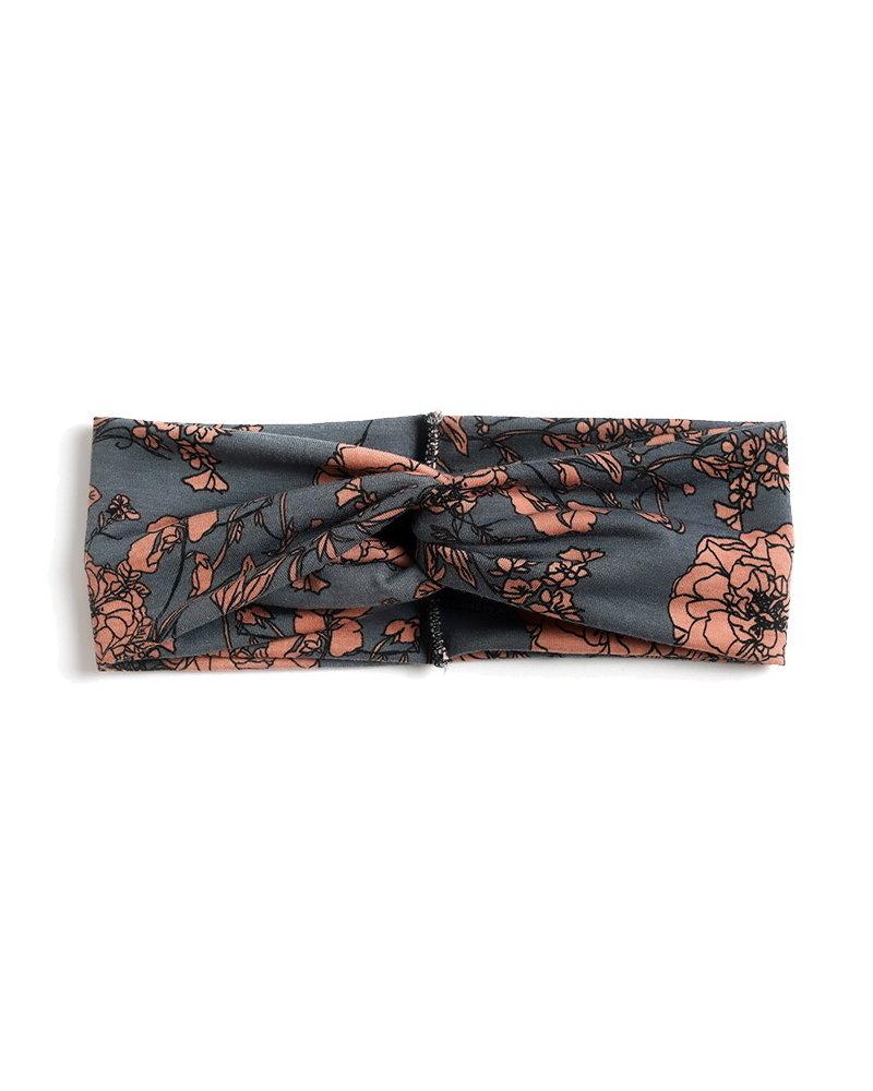 Fashion Favorite Haarband / Bandana Flower | Grijs/Oudroze | Elastisch / Katoen