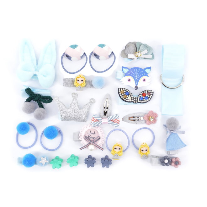 Kinder Clipjes/Elastiekjes Set - Blauw