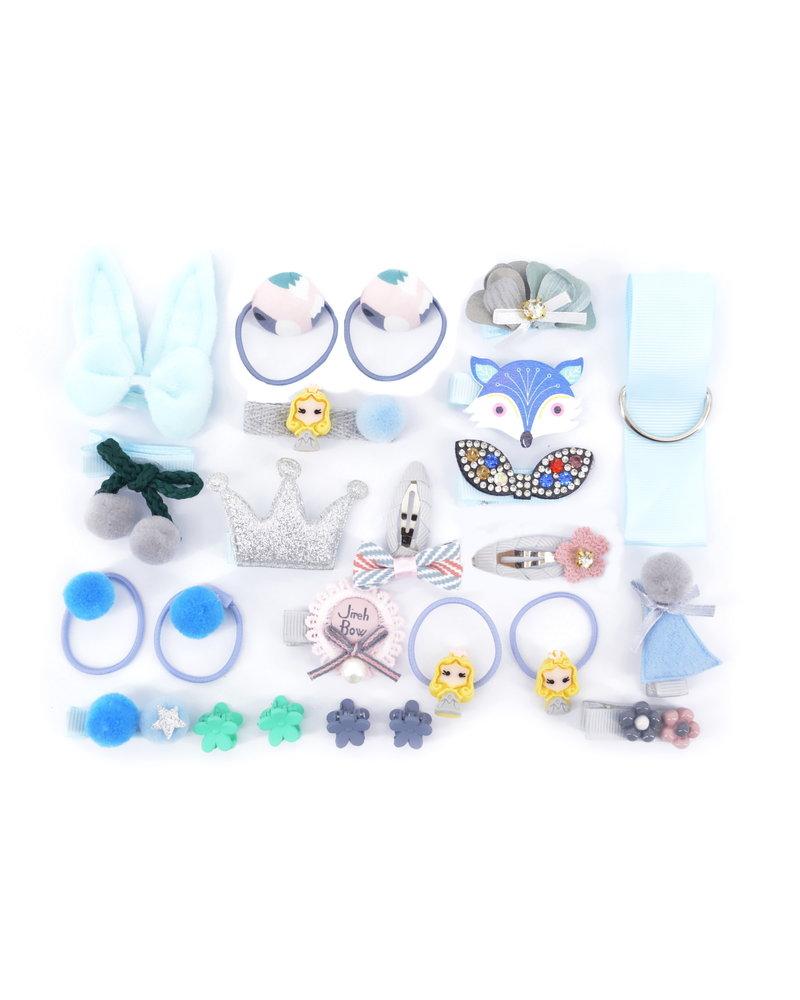 Fashion Favorite Kinder Elastiekjes Set - Blauw   Fashion Favorite