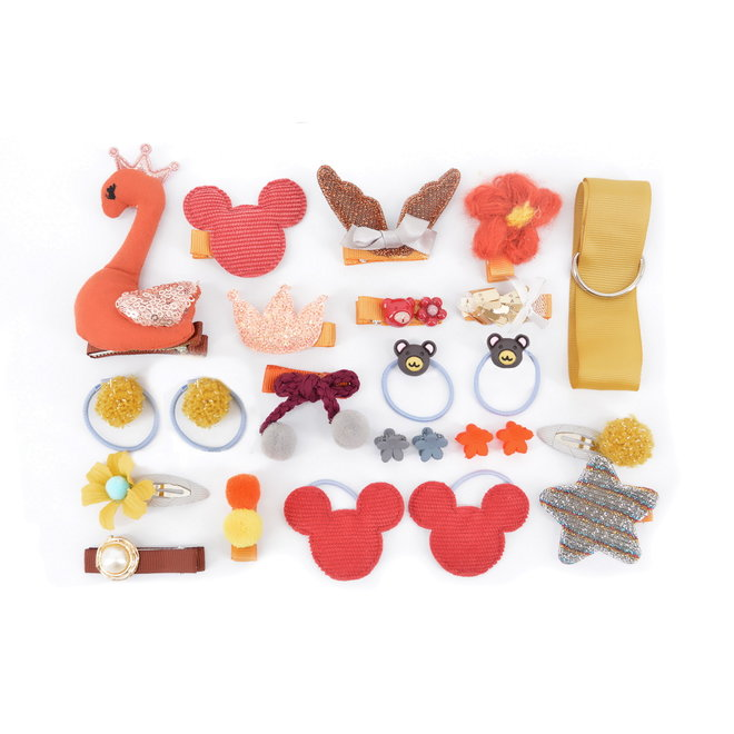 Kinder Clipjes/Elastiekjes Set - Roest