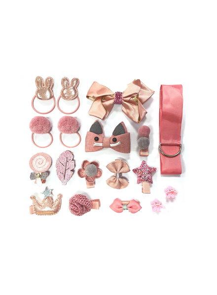 Fashion Favorite Kinder Elastiekjes Set - Oudroze