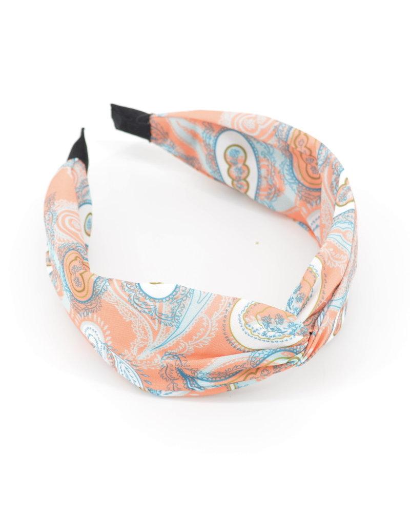 Fashion Favorite Paisley Haarband Koraal | Diadeem | Katoen/Polyester