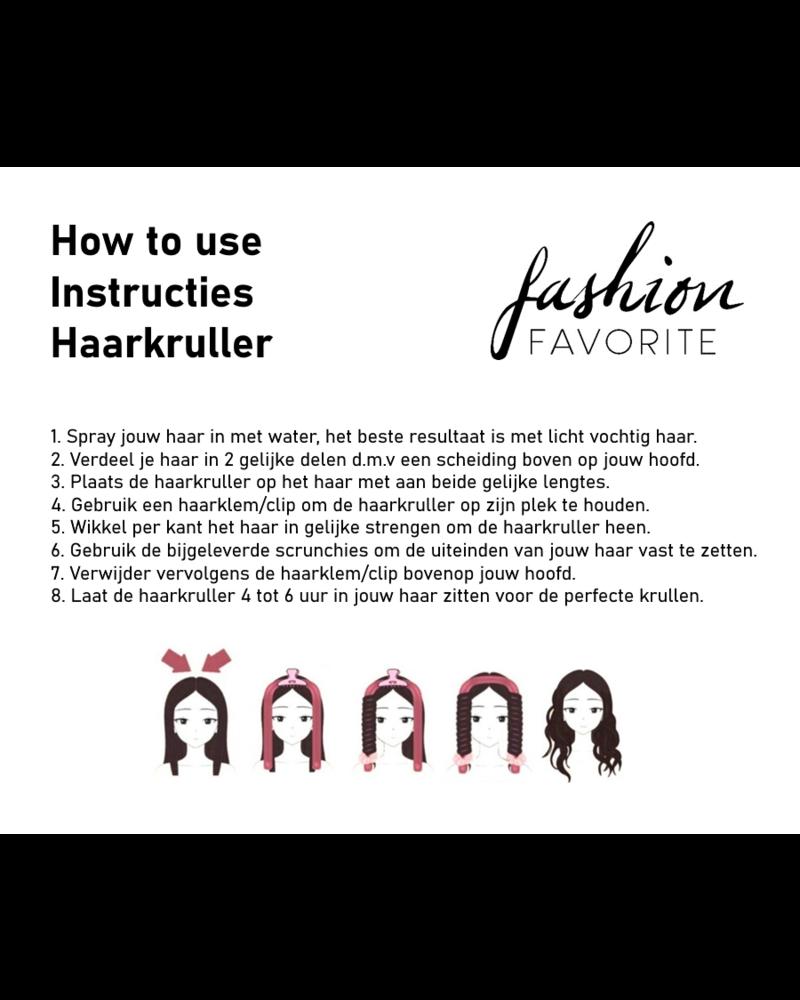 Fashion Favorite Haarkruller Roze | Heatless Curling Ribbon | Satijn/Rubber
