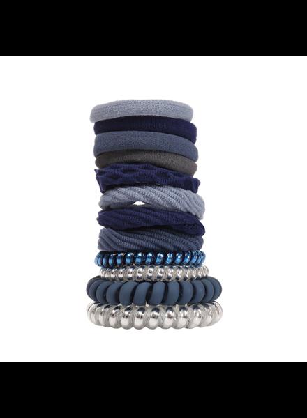 Fashion Favorite Haar Elastiek Set 12 stuks - Zilver/Blauw