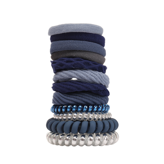 Haar Elastiek Set - Zilver/Blauw   12 stuks   Fashion Favorite