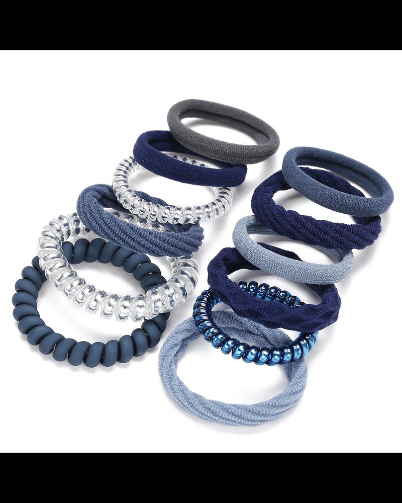 Fashion Favorite Haar Elastiek Set - Zilver/Blauw   12 stuks   Fashion Favorite